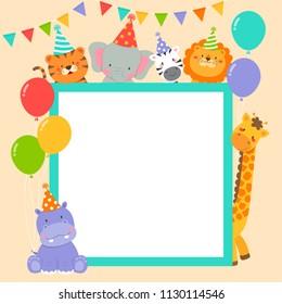 Cute wildlife animals cartoon border for party invitation card template
