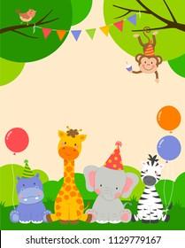 Cute wildlife animals cartoon illustration for party invitation card template