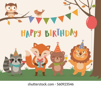 Cute wildlife animals cartoon illustration for birthday invitation or greeting card design template