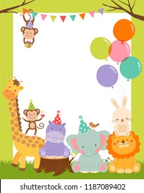 Cute wildlife cartoon animals border design for party invitation card template
