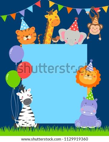 Cute Wildlife Cartoon Animals Border Design Stock Vector Royalty