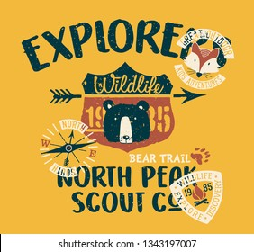 Cute Wildlife explorer scout company  vintage vector print for children wear