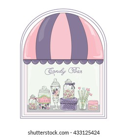 Cute window of candy shop with hand drawn candy jars and boxes. Candy bar. Candy buffet.