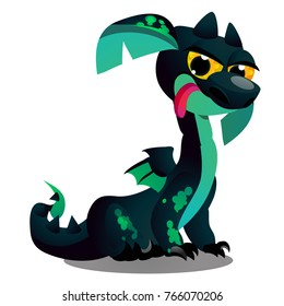 Cute winged dragon green color isolated on white background. Vector cartoon close-up illustration.
