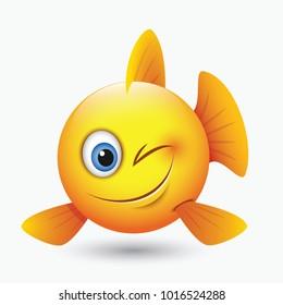Cute winking fish emoticon, emoji, smiley - isolated vector illustration