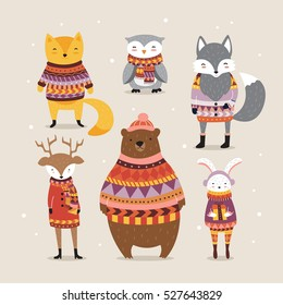 Cute winter animals in boho style. Hipster winter animals