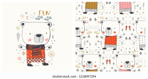 Cute winter bear, seamless patter. set. hand drawn vector illustration