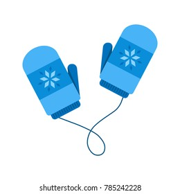 Cute winter blue mittens with string. Mittens with snowflakes vector graphic icon.