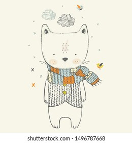 Cute winter Cat wearing scarf . hand drawn vector illustration. Can be used for t-shirt print, kids wear fashion design, baby shower invitation card greeting card.