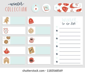 cute winter to do list template note paper and stickers set with vector christmas illustrations