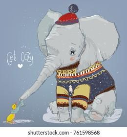 cute winter elephant