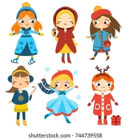 Cute winter girls set. Kids winter activity. Vector collection of cartoon female children characters having winter holidays fun