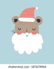 Cute Winter Holidays Vector Illustration with Funny Santa Claus Bear. Hand Drawn Bear in the Red Woolen Cap and Fake White Beard Isolated on a Pastel Blue Background. Infantile Style Christmas Card.