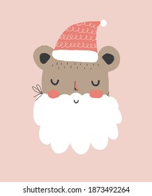 Cute Winter Holidays Vector Illustration with Funny Santa Claus Bear. Hand Drawn Bear in the Red Woolen Cap and Fake White Beard Isolated on a Pastel Pink Background. Infantile Style Christmas Card.