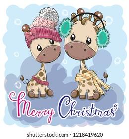 Cute winter illustration Giraffes Boy and Girl in hats