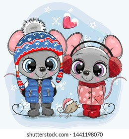 Cute winter illustration with two Mouses Boy and Girl in hats and coats