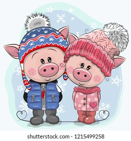 Cute winter illustration with two Pigs Boy and Girl in hats and coats