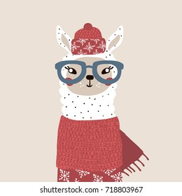 Cute winter lama in scarf and hat. Holiday and christmas illustration. It can be used for greeting card, posters, apparel