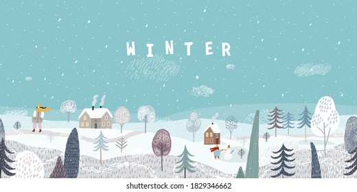 Cute winter landscape. Winter banner. Winter walk. Lovely houses in a snowy valley. Horizontal seamless landscape.
