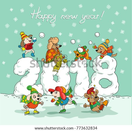 cute winter new year card with cartoon dogs on a background of numbers 2018