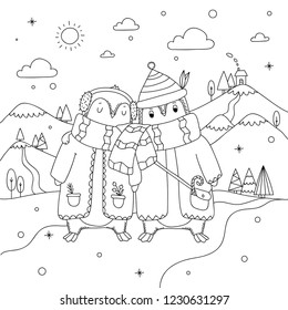 Cute winter penguin couple on north pole. Penguin coloring book for kids and adults. Beautiful christmas coloring page with penguins, snow, north pole, christmas trees, mountains.