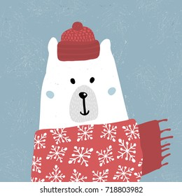 Cute winter polar bear in scarf and hat. Holiday and christmas illustration. It can be used for greeting card, posters, apparel