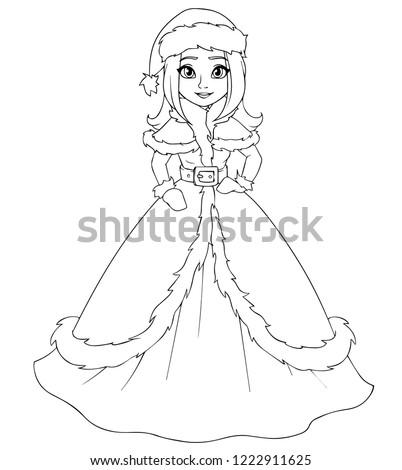Cute Winter Princess Wearing Santa Claus Stock Vector