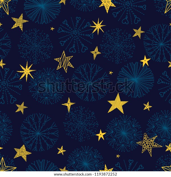 Cute winter seamless pattern with decorative snowflakes and stars.