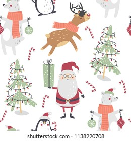 Cute winter seamless pattern with Santa Claus, bear, penguin, deer and christmas tree