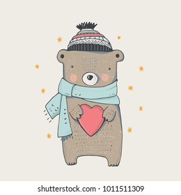 cute winter teddy bear,hand drawn vector illustration..Can be used for kids/babies shirt design, fashion print design,t-shirt, kids wear,textile design,celebration card/ greeting card, invitation card