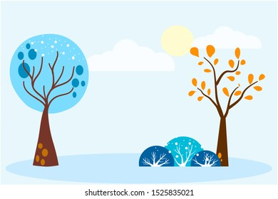 Cute winter trees. Christmas objects and elements of nature to create a landscape.