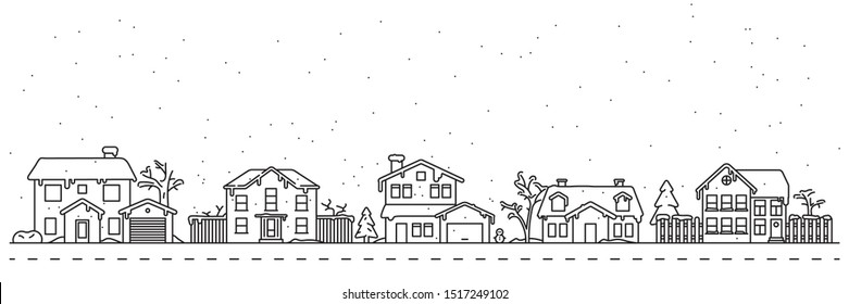 Cute Winter Dorfbezirk Vektorgrafik