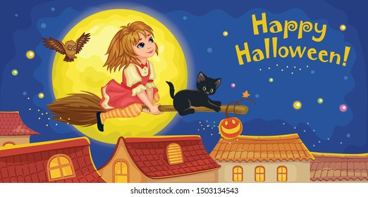 A cute witch and a black cat on a broomstick. Night sky with moon and stars. Top view of the roofs of houses. Cartoon poster for happy Halloween. Vector illustration.