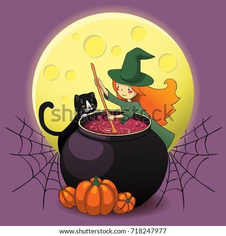 cute witch with black cat preparing potion in a large cauldron halloween poster background