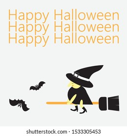 cute witch cartoon character ride the broom, she hits two bats down. Funny witch and bat vector and orange Happy Halloween text.