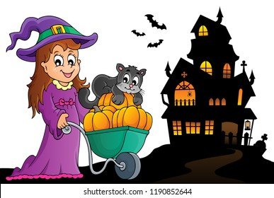Cute witch and cat Halloween image 2 - eps10 vector illustration.