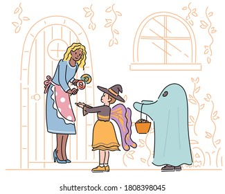 A cute witch and ghost are doing a trick or treat. A woman is handing out candy to her children. drawn style vector design illustrations.
