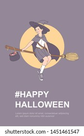 Cute witch girl fly by broom on moon blackground, draw line art vector illustration