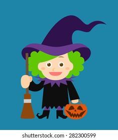 Cute witch holding halloween pumpkin. Festive frame. Vector