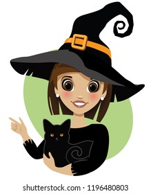 Cute witch pointing to your Halloween message. Isolated cartoon Halloween character holding black cat. EPS10 vector illustration.