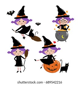 cute witch vector set, Halloween
