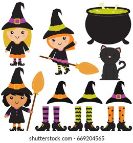 Cute Witches / Cauldron / Broomsticks In White Background