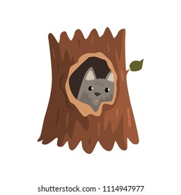 Cute wolf cub sitting in hollow of tree, hollowed out old tree and cute animal cartoon character inside vector Illustration on a white background