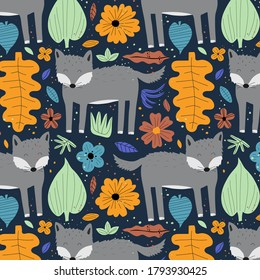 Cute wolf hand drawn flat vectorseamless pattern. Adorable forest animal with leaves and flowers on blue background. Creative childish design for print