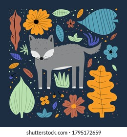 Cute wolf hand drawn flat vector illustration. Adorable forest animal with leaves and flowers isolated on blue background. Creative childish t shirt print design