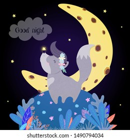 Cute Wolf Howling at Moon. Funny Baby Wolfling in Flower Wreath with Glowing Star on Nose Stand on Field with Plants under Starry Sky Howl Good Night, Nighttime Wish Cartoon Flat  Vector Illustration