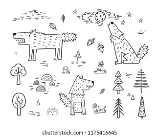 Cute Wolf Vector Set. Hand Drawn Doodle Wolves in Forest. Cartoon Wild Animals collection. Design for kids