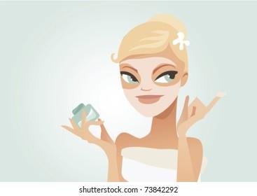 Cute woman applying facial mask vector illustration