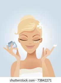 Cute woman applying moisturizer .vector illustration