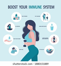 Cute woman boosting immunity with sport and healthy food. Healthy lifestyle. Female character adheres to good habits to maintain health. How to boost your immune system. Flat vector illustration